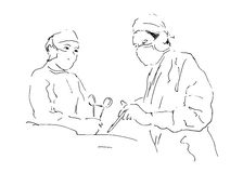 Sketch two doctors operating. Vector illustration Stock Photo