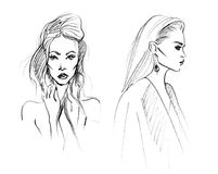 Sketch of Two Fashion Woman Stock Photos