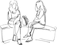 Sketch of two friends sitting on bench Royalty Free Stock Image