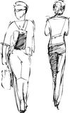 Sketch of two girls going in different directions Stock Photography