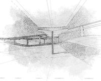 Sketch of the two-level highway. Stock Image