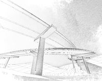 Sketch of the two-level highway. Stock Photo