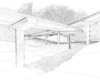 Sketch of the two-level highway. Sketch of the two-level highway depicted in floral style Royalty Free Stock Photography