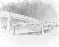 Sketch of the two-level highway. Stock Images