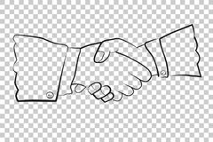 Sketch, Two man Hand shaking, at Transparent Effect Background. Vector Sketch, Two man Hand shaking, at Transparent Effect Background Stock Images
