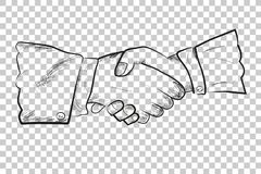 Sketch, Two man Hand shaking, at Transparent Effect Background. Vector Sketch, Two man Hand shaking, at Transparent Effect Background Stock Photo