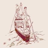 Sketch two men standing on the edge in a boat in the river and are kept in the hands of the paddle. Brown contour on beige backgro Stock Image