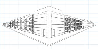 Sketch Two-Point Perspecitive. A traditional two-point perspective sketch of a street corner Royalty Free Stock Image