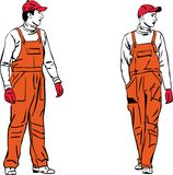 Sketch two workers in orange combinations Stock Images