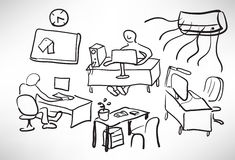 Sketch of a typical day Stock Image