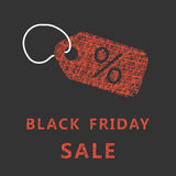 Sketch typography black friday sale with label Stock Photos