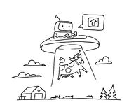 Sketch UFO steal a cow. Robot alien character. 404 error not page. On flying saucer. Hand drawn black line vector. Sketch UFO steal a cow. Robot alien character Royalty Free Stock Image