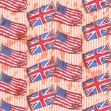 Sketch UK and USA flags,   seamless pattern Royalty Free Stock Photo