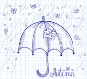 Sketch of an umbrella in the rain Stock Images