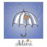 Sketch of an umbrella in the rain Royalty Free Stock Image