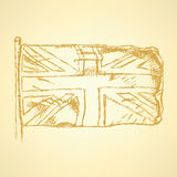 Sketch Unaited Kingdom flag, vector background Royalty Free Stock Photo