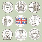 Sketch United Kingdom icons Stock Photography