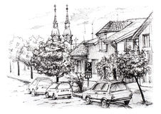 Sketch of urban landscape in Serbia. City street with private houses, church, cars and trees Royalty Free Stock Image