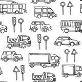 Sketch urban transportation vector seamless pattern. stock photos