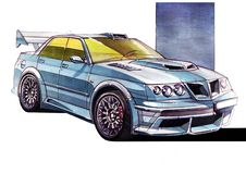 Sketch urban youth car in a sporty style with a powerful high-speed motor. vector illustration