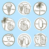 Sketch vacation logos Stock Images