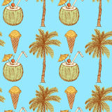 Sketch vacation symbols in vintage style Royalty Free Stock Images