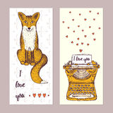 Sketch Valentine posters Royalty Free Stock Image