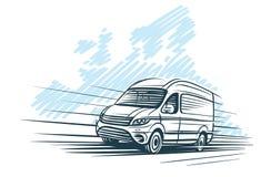 Sketch of van in front of european map sketch. Vector. Layered vector illustration