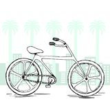 Sketch vector bicycle. Hand drawn isolated element on life style concept. flat city background. Royalty Free Stock Images