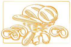 Bakery-products-sketch. A sketch, vector drawing of a bakery products. Can be used together or separately for backgrounds Royalty Free Stock Photo