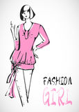 SKETCH. vector fashion pink girls Royalty Free Stock Photo