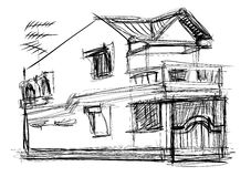 Sketch vector of house Royalty Free Stock Image