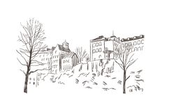 Sketch vector illustration european view stockholm buildings on the rock royalty free illustration
