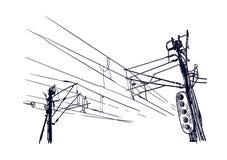 Sketch vector illustration european view wires traffic light royalty free illustration