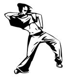 Sketch vector illustration - girl street dancer Royalty Free Stock Photography