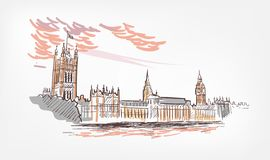 Sketch vector illustration London line watercolor colorful royalty free illustration