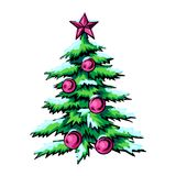Sketch of vector symbol Christmas. Winter. The Christmas tree is green with red balls and a star on the peak vector illustration