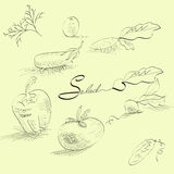 Sketch with vegetables. Universal template for greeting card, web page, background Royalty Free Stock Photography