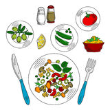 Sketch of vegetarian salad with ingredients. Vegetarian salad with ingredients colorful sketch of plate with sliced tomatoes, fresh green olives and sweet peas Royalty Free Stock Image