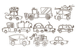 Sketch of vehicles Stock Images