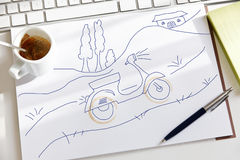 Sketch of a vespa motorbike Stock Photography