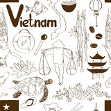 Sketch Vietnam seamless pattern Stock Images
