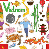 Sketch Vietnam seamless pattern. Fun colorful sketch Vietnam seamless pattern Royalty Free Stock Images