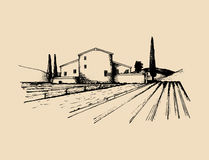 Sketch of villa, peasants house in fields. Vector rural landscape illustration. Hand drawn mediterranean homestead. Sketch of villa, peasants house in fields Royalty Free Stock Photography