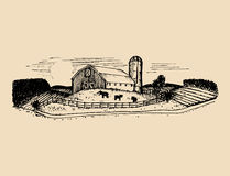 Sketch of village barn, fields and silo. Vector rural landscape illustration. Hand drawn farm, agricultural homestead. Stock Images