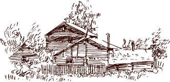 Sketch of a village house Stock Photography