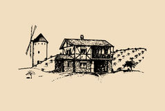 Sketch of village with windmill, fields and peasants house. Vector rural landscape illustration. Stock Photo