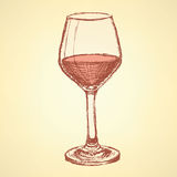 Sketch vine glass in vintage style Royalty Free Stock Photography