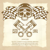 Sketch of vintage biker rider skull royalty free illustration