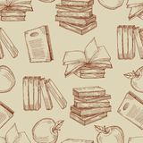Sketch vintage books seamless pattern or background vector illustration